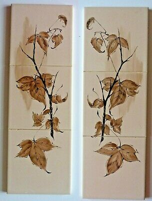 """2 hand painted tile panels each consisting 3 6""""sq tiles by Packard & Ord, 1963"""