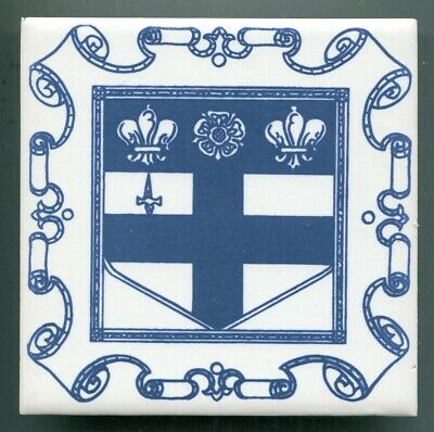 """Screen printed 6""""sq tile by Pilkingtons for Christ's Hospital School, 1971"""