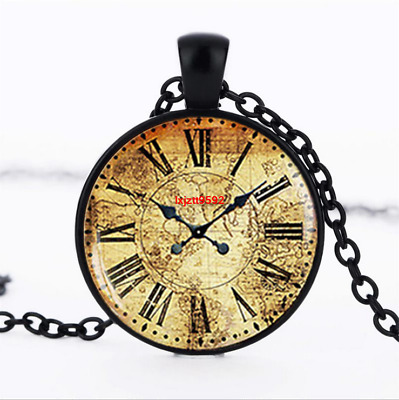 clock antique clock photo Glass Dome Chain Pendant Necklace wholesale jewelry