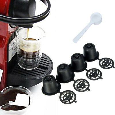 4x Refillable Reusable Coffee Capsules Pods For Nespresso Q4X8 Machines Spoon