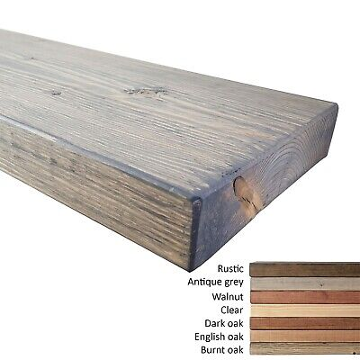 Floating Wall Wood Shelves. Rustic Style. Antique Grey Stain. Various Length.
