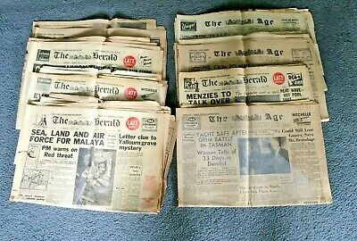 Group of old newspapers from April 1955