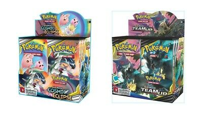 Pokemon TCG Sun & Moon Cosmic Eclipse + Team Up Booster Box Bundle 2 Boxes