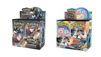 Pokemon TCG Sun & Moon Cosmic Eclipse + Burning Shadows Booster Box Bundle