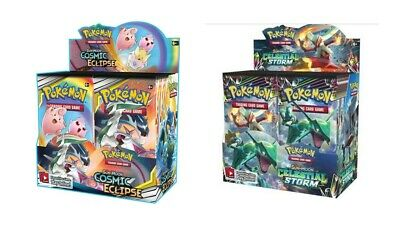Pokemon TCG Sun & Moon Cosmic Eclipse + Celestial Storm Booster Box Bundle
