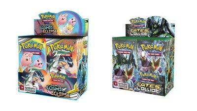Pokemon TCG Sun & Moon Cosmic Eclipse + Fates Collide Booster Box Bundle