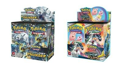 Pokemon TCG Sun & Moon Cosmic Eclipse + Lost Thunder Booster Box Bundle