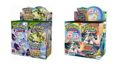 Pokemon TCG Sun & Moon Cosmic Eclipse + Roaring Skies Booster Box Bundle