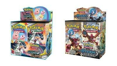 Pokemon TCG Sun & Moon Cosmic Eclipse + Steam Siege Booster Box Bundle