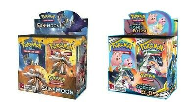 Pokemon TCG Sun & Moon Cosmic Eclipse + Sun & Moon Base Set Booster Box Bundle