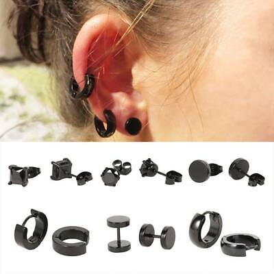 6 Pairs Black Stud Flat Round Barbell Earrings Plug Gym Mens Mm Stainless Steel&