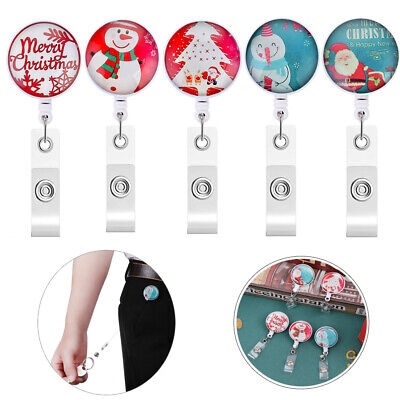Cute Christmas Style Snowman Badge Reel Retractable ID Name Card Holder Clip