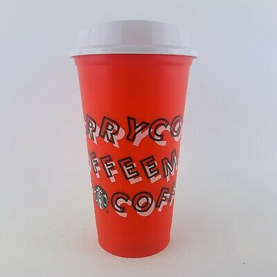 Starbucks 2019 Winter Christmas Red Reusable Plastic Hot Cup W/ Lid Merry Coffee