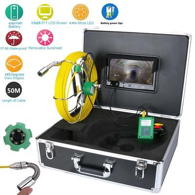 """9""""LCD 50M Pipe Inspection 1000 TVL Video Camera LED Waterproof Drain Pipe Sewer"""