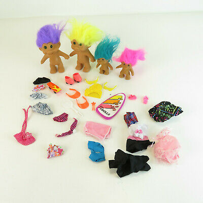 1991 NOS 4 Trolls Set w/ Clothes & Accessories - Vintage Toys New in Package