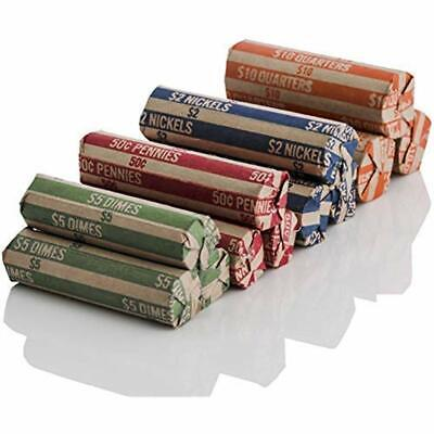 J Mark 100 Count Assorted Flat Coin Roll Wrappers - Made USA, 25 Each Quarter,