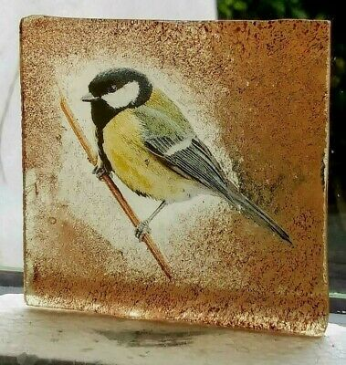 Stained Glass Great Tit bird -  Kiln fired transfer fragment amber glass pane