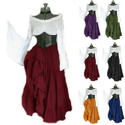 Women's Vintage Long Sleeve Off Shoulders Maxi Dress Medieval Cosplay Costume