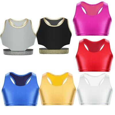 Kids Girls Ballet Dance Crop Top Racer Back Bra Tops Gym Sport Leotards Workout