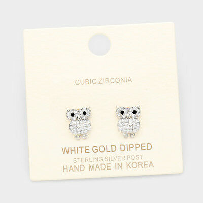 Owl Earrings CZ Tiny Small Sterling Silver Post Stud WHITE GOLD DIPPED Fall Tree
