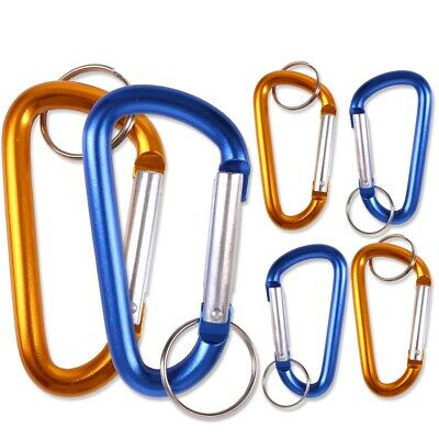 6x CARABINER GRAB LINKS 75mm Spring Close Non-Locking Clips WITH SPLIT RINGS