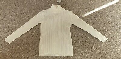 Girls Brand New With Tags 4-5 Years White Ribbed Polo Neck Nutmeg Jumper