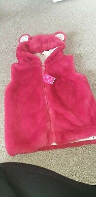 Girls Brand New With Tags Nutmeg Pink Super Soft Luxurious Gillet With Hood And