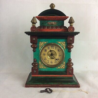 Unusual Painted Victorian Mantle Clock With Musical Alarm Mechanism