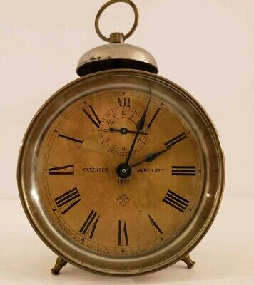Antique 1877 ANSONIA Nickel Peg Leg Victorian Top Bell Mantel Shelf Alarm Clock