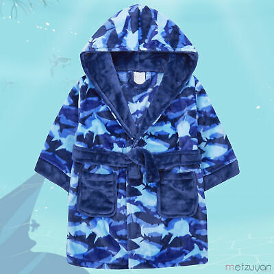 Kids Child Boys Shark Dressing Gown Hood Jawsome Jaws Patterned Bathrobe for Boy