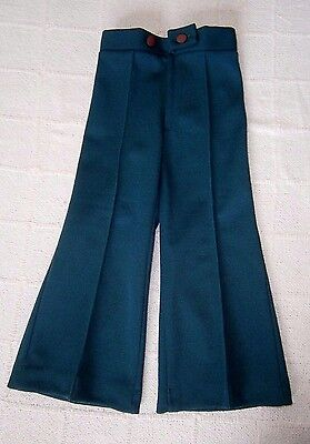 Vintage  Flared Trousers - Age 2 Approx -  Bottle Green Jersey -Zip Front - New