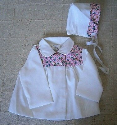 Vintage Baby Coat & Hat Set -Age 12 months - White - Lined Poly/Cotton - New