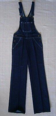 Vintage Denim Dungarees - Age 10 - Navy - White stitching - Metal Buckles - New