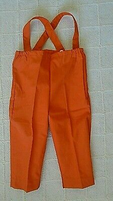 Vintage Over-Trousers - Age 12-18 months Approx -Orange Poplin - Warm Lined -New