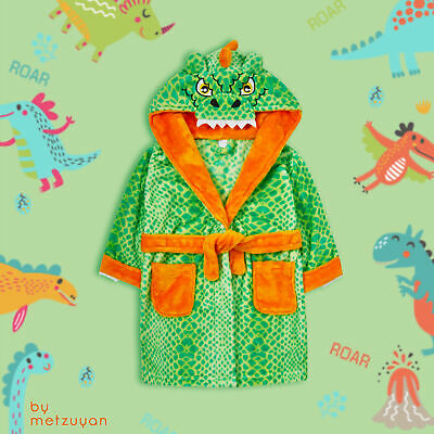 Infant Kids Boys Novlety Dinosoaur Dressing Gown 3D Dino Hooded Bathrobe Soft