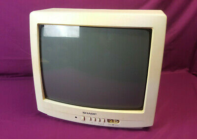 "Vintage Sharp 13N-M150B Small White 13"" Color Television CRT TV Retro Gaming"