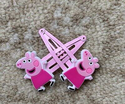 Peppa Pig Girls Hair Clips - Happy Peppa with A Pink Dress x 2, New (Ref 1009)