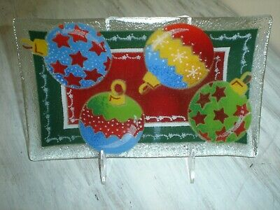 """Peggy Karr Glass Signed 2000 Fused Art Glass 10""""X 6"""" Holiday Ornament Dish EUC"""