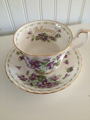Royal Albert Bone China Tea Cup & Saucer February Flower Of The Month Violets