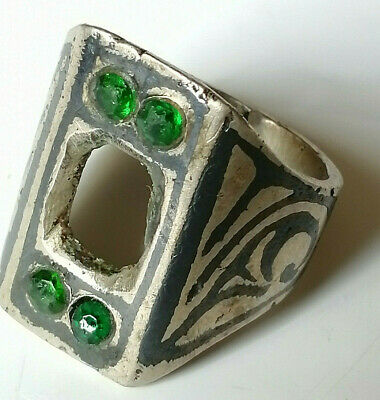 Vintage Medieval Ancient Ring SILVER stone Missed
