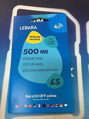 5 LEBARA MOBILE Sim Card 500 MB data, 100 Min, 100 Texts 100