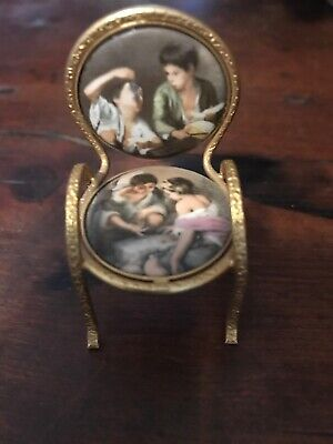 Antique French Miniature handpainted Porcelain & Brass Chair For Dollhouse