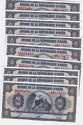 10 pc lot HAITI 2 GOURDES 1992 P 254 UNC