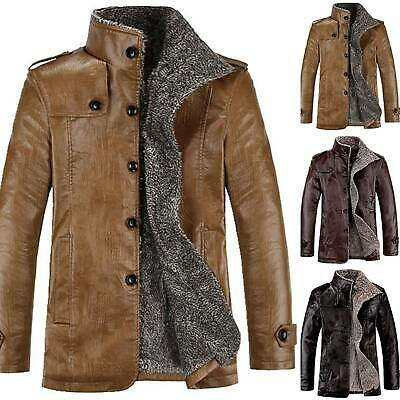 Men Warm Winter Overcoat Leather Lamb Fur Lined Thick Coat Fashion Cowboy Jacket
