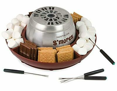 Nostalgia LSM400 Indoor Electric Stainless Steel S'mores Maker with 4 Lazy Susan