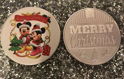 Mickey Minnie Mouse Silver Plated Coin Capsule  Merry Christmas Stocking Filler