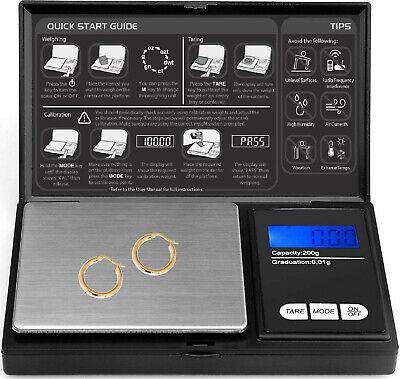 Digital Pocket Scale - 200g x 0.01g Weighing Mini Scales Gold Weight Jewellery