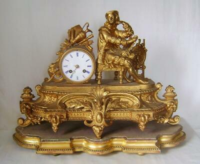 French Gilt Spelter Mantle Clock Figure of a Painter orignal gilt wood base a/f