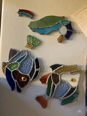 Stained Glass Birds & Fish.  Pieces Shown Some Not Finished