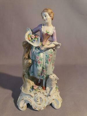 19th century Sitzendorf porcelain figure of a young woman with lamb